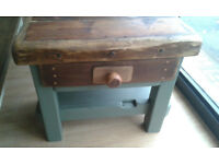 a rustic solid heavy chopping / butchers block , vintage furniture