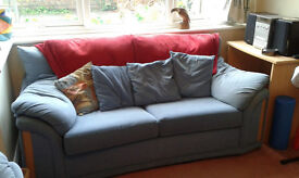 Free - 2 seater sofa bed, blue - collection from Dartford
