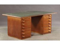 Vintage retro antique Danish mahogany large double pedestal green top wooden office work desk table