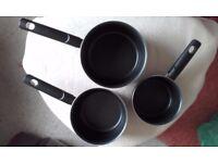 Tefal 3 piece Optimal Technology non-stick saucepan set - used
