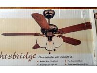 New in box Knightsbridge Classic Ceiling Fan with lights