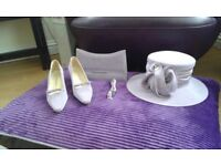 Matching wedding hat, shoes & bag.