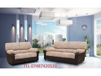 Luxury Candy 3+2 Sofa Brown/Beige Corded Fabric £399