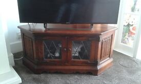 Old Charm Tudor Oak Corner TV, Hi-Fi, DVD, CD cabinet by Wood Bros