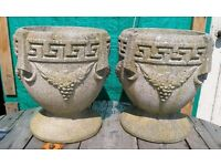 Pair of Large Heavy Greek Style Plant Pots, 2 Items, Garden Decor