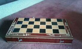 Wooden Chessboard, Backgammon & Draughts