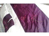 Plum and cream duvet set with curtains
