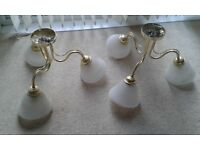 2 Ceiling light fittings - old colour with white frosted lamps £10 for pair