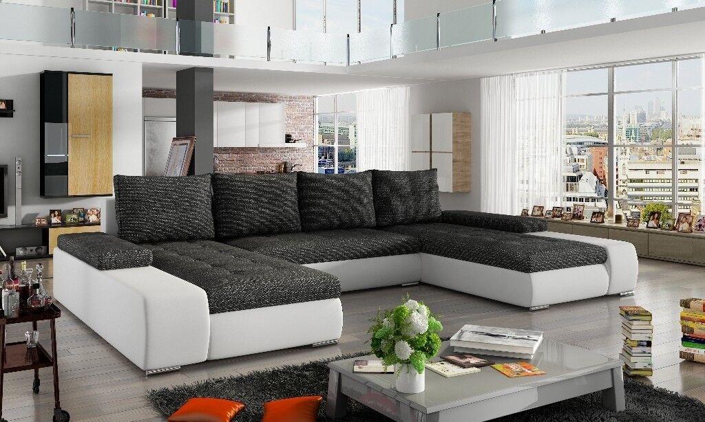 Sanmarino Leather Fabric Corner U Shape Sofa Bed Storage Black