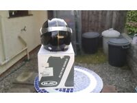 black and silver xs small hjc motorcycle helmet