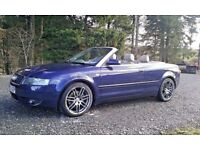 "AUDI 4 Blue-3L-V6 CONVERTIBLE QUATTRO Bose RS6 18"" Wheels 11 MOT 220bhp GREY LEATHER"