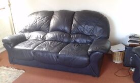 Sofa and 2 armchairs blue leather