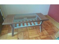 1960s Danish coffee table with glass insert
