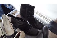 Ladies Bundle of Clothes/Footwear - Car Boot ? - Shiny Wet Look Coat, Boots, Shoes, Leather Skirts