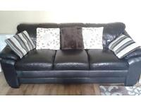 Brown leather suite £80.