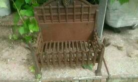 Cast iron fire basket with back plate