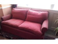Heals Embroidered Pattern Red 3 Seater Sofa