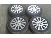 "Rover 45 4 stud oem 15"" alloy wheels 25 400 MG excellent tyres"