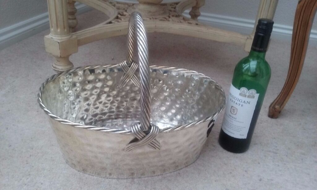 Large Silver Plated Display Basket / Champagne / Wine / Bucket / Bread Rolls