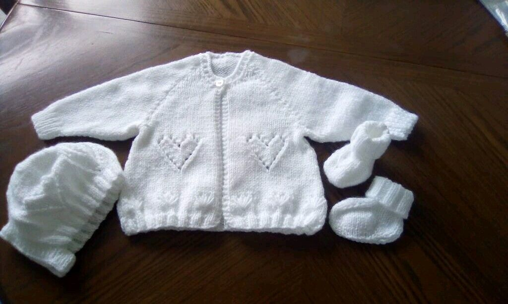 7d8f720b5560 New hand knitted matinee coat set 0 3mths