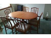 Stag extending dining table and chairs