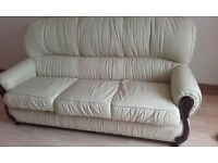 Cream Leather Suite 3 seater and chair