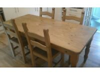 PINE KITCHEN TABLE AND CHAIRS. 183CMS LENGTH, 88CMS WIDTH AND 77CMS HEIGHT. VGC