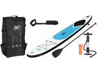 Inflatable SUP Stand Up Paddle Board 10ft with Pump, Paddle, Leash, Bag - black or blue