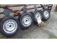 VW T5 Van wheels & tyres c/w centre caps and wheel bolts
