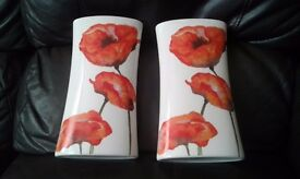 Two flower patterned vases, 290mm in height, 150mm wide