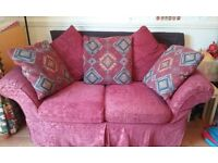 2 seater sofa, armchair & footstool with storage