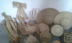 Large box of floristry straw hats, baskets and thrashers
