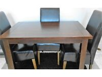 Rectangular Fixed Top Dining Table and 4 faux leather chairs