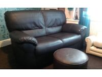2 seater sofa and foot rest brown leather flux