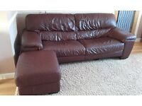 Genuine brown leather sofa with storage footstool
