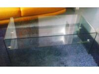 Habitat Curved Glass Coffee Table With Glass Shelf