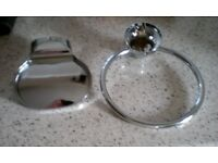 Chrome Towel Ring and Soap Dish (as new, never used)