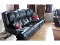Quality black leather recliner suite