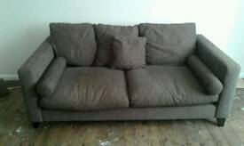 dfs brown cord large 3 seater sofa with cushions