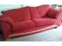 Three-seater sofa, two-seater sofa plus footstool - matching set