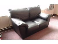 Black leather two seater sofa FREE