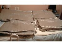 Luxury Chocolate/Silver Curtains with thick pattern and sunblock stitching. 2 pairs.