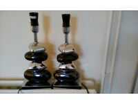 2 X Table Pebble Gun Metal And Chrome Lights - No Shades