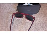 Georgio Armani designer sunglasses with case, blue and red frames,in ex cond,bargain £15,loc deliver