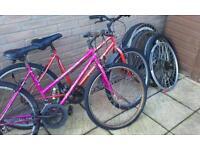 2 old bikes and some wheels,vintage wheels, bike bundle