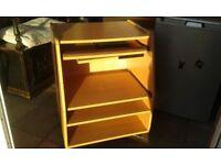 Desk unit for computer, printer, keyboard, sliding shelves, castors, easily movable. Fair condition