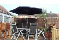 Malibu 6 seater steel patio set black