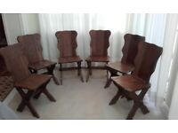 6 x Swiss Solid Oak dining chairs