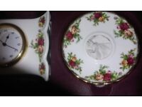 **OFFERS New and unused Royal Albert Old Country Roses Living Room Set: Clock, vase, candle holders