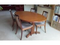 G Plan Dining Table and Four Chairs